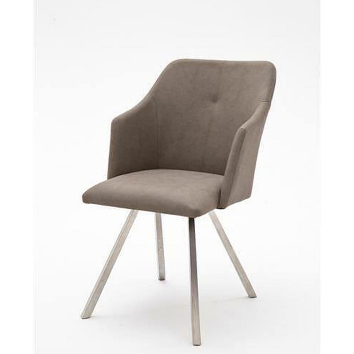 Pegane Lot de 2 chaises de salle à manger en acier / similicuir taupe - L.54 x H.88 x P.62 cm -PEGANE-