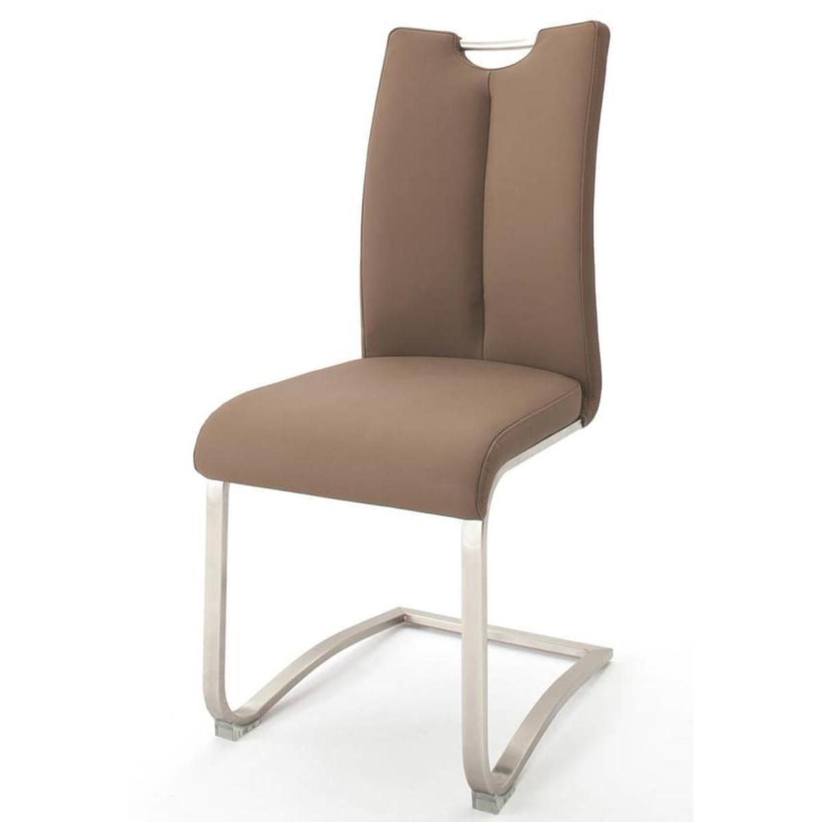 Pegane Lot de 2 chaises de salle à manger en acier et cuir artificiel cappuccino - H.102 x L.45 x P.58 cm