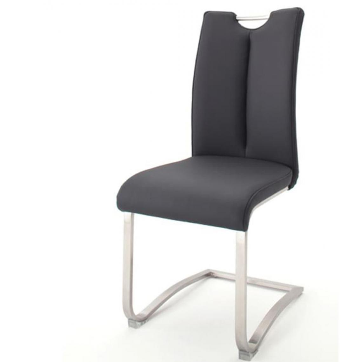 Pegane Lot de 2 chaises de salle à manger en acier et cuir artificiel gris - H.102 x L.45 x P.58 cm