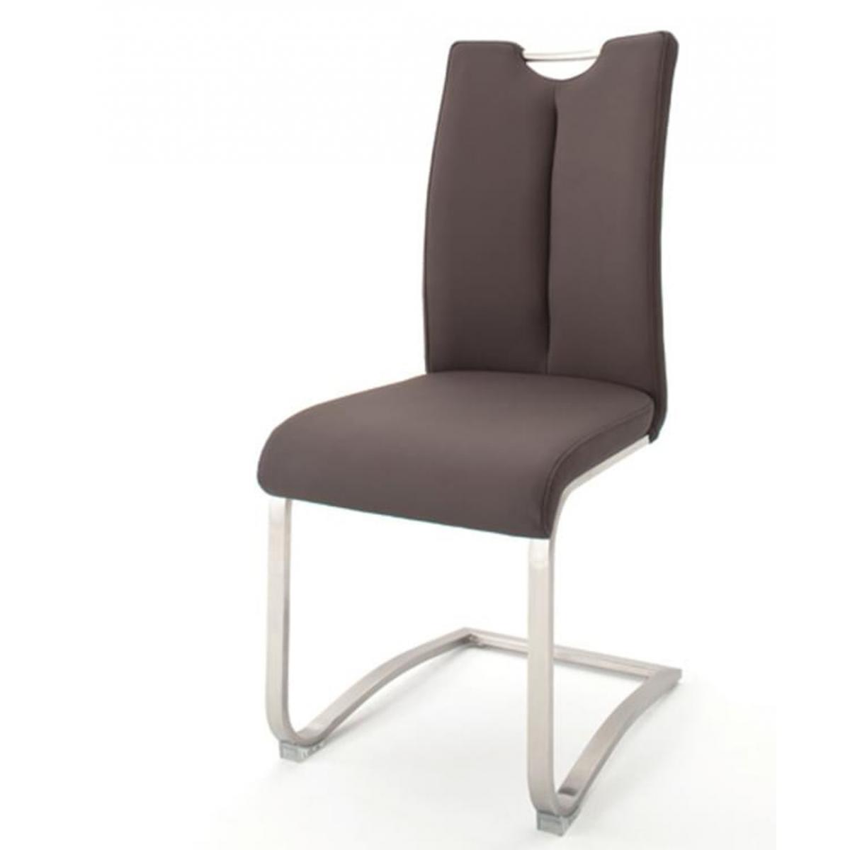 Pegane Lot de 2 chaises de salle à manger en acier et cuir artificiel marron - H.102 x L.45 x P.58 cm