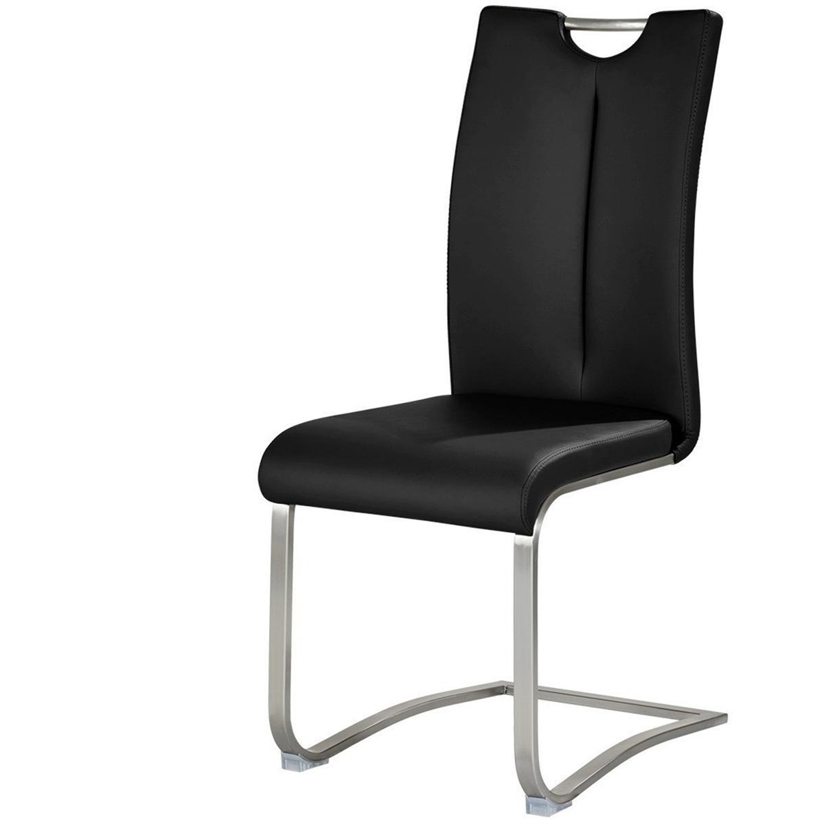 Pegane Lot de 2 chaises de salle à manger en acier et cuir artificiel noir - H.102 x L.45 x P.58 cm