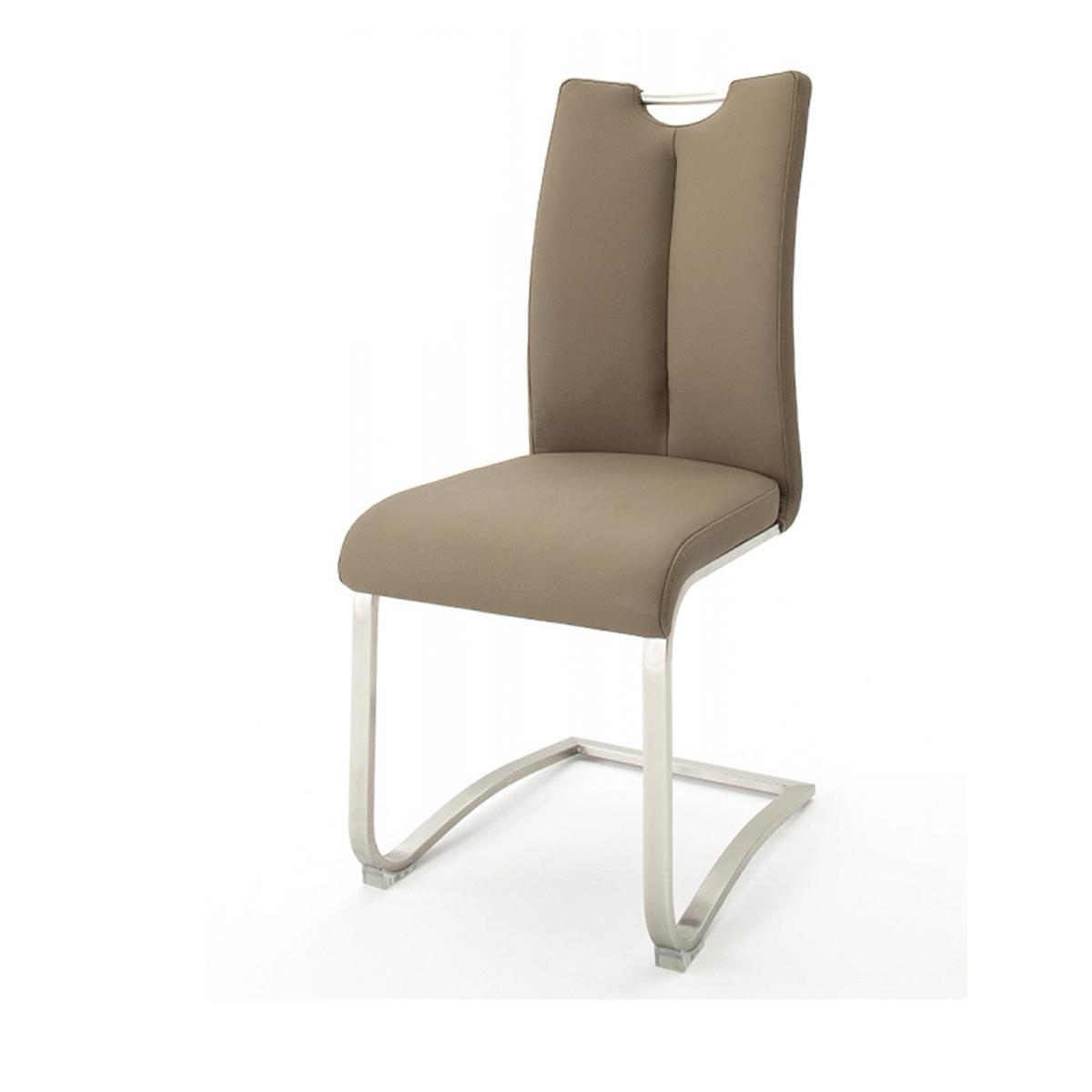Pegane Lot de 2 chaises de salle à manger en acier et cuir cappuccino - H.102 x L.45 x P.58 cm