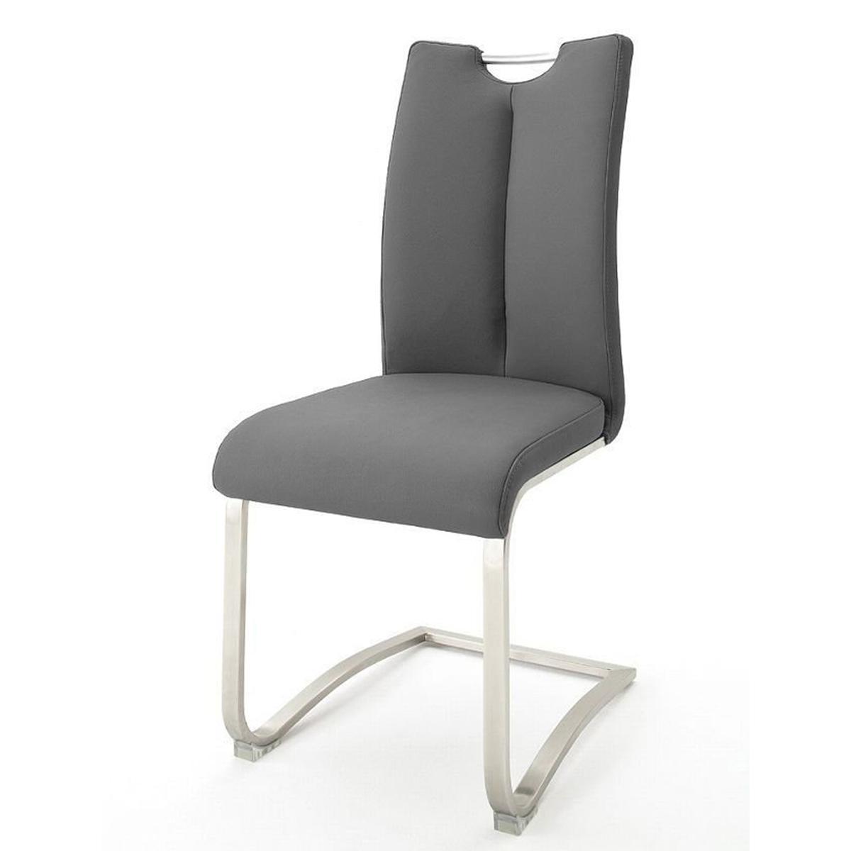 Pegane Lot de 2 chaises de salle à manger en acier et cuir gris - H.102 x L.45 x P.58 cm