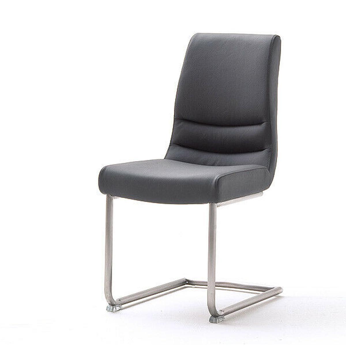 Pegane Lot de 2 chaises de salle à manger en acier et cuir gris - L.45 x H.90 x P.63 cm -PEGANE-