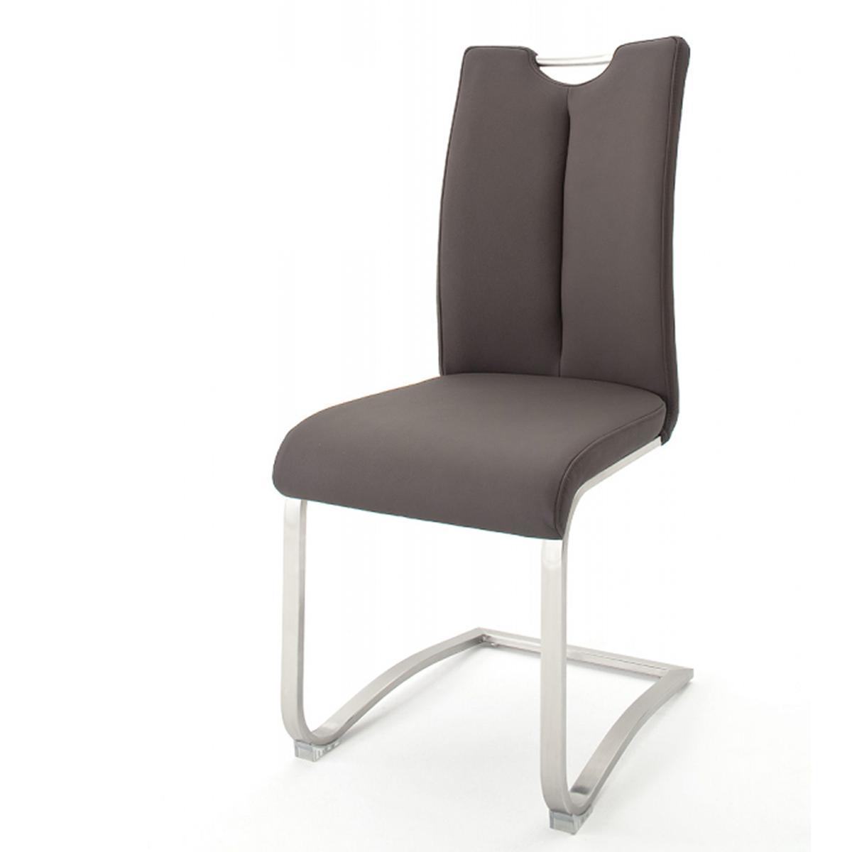 Pegane Lot de 2 chaises de salle à manger en acier et cuir marron - H.102 x L.45 x P.58 cm