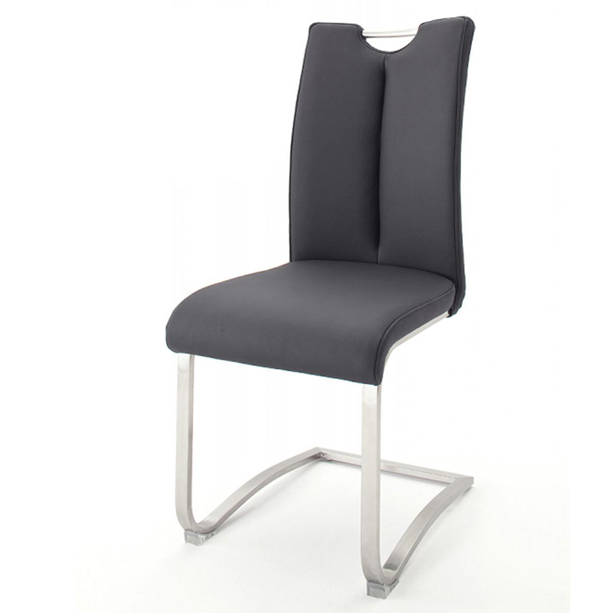 Pegane Lot de 2 chaises de salle à manger en acier et cuir noir - H.102 x L.45 x P.58 cm