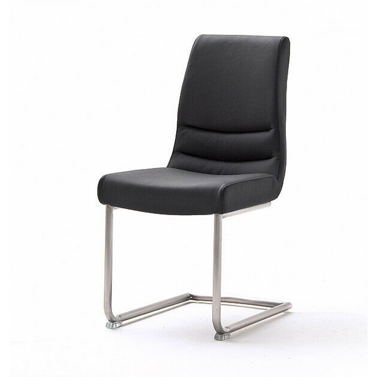Pegane Lot de 2 chaises de salle à manger en acier et cuir noir - L.45 x H.90 x P.63 cm -PEGANE-