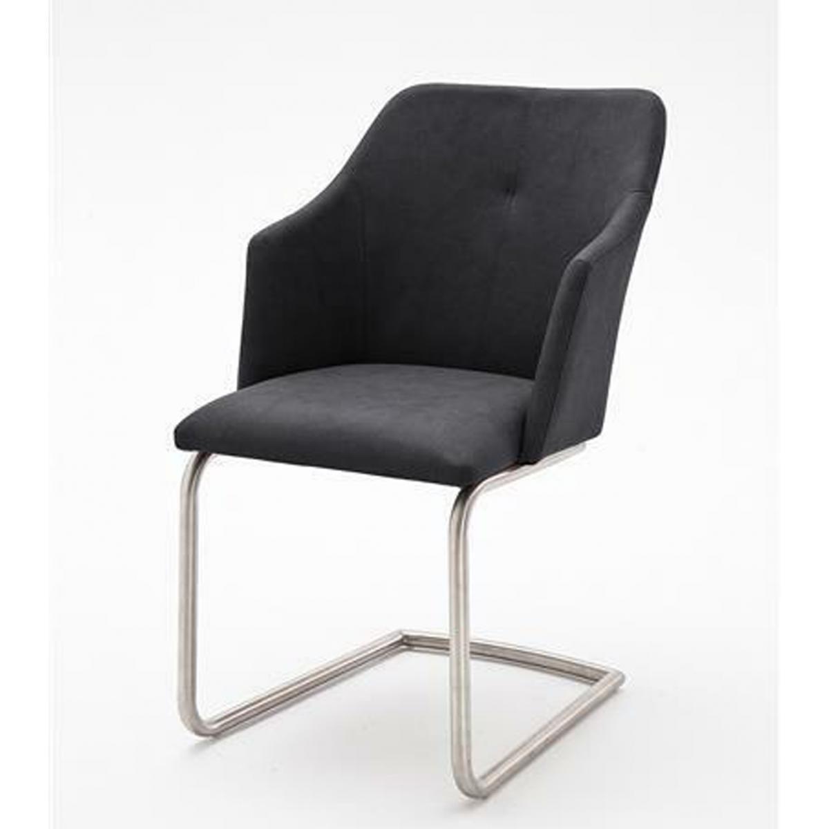 Pegane Lot de 2 chaises de salle à manger en acier et similicuir anthracite - L.54 x H.88 x P.62 cm -PEGANE-