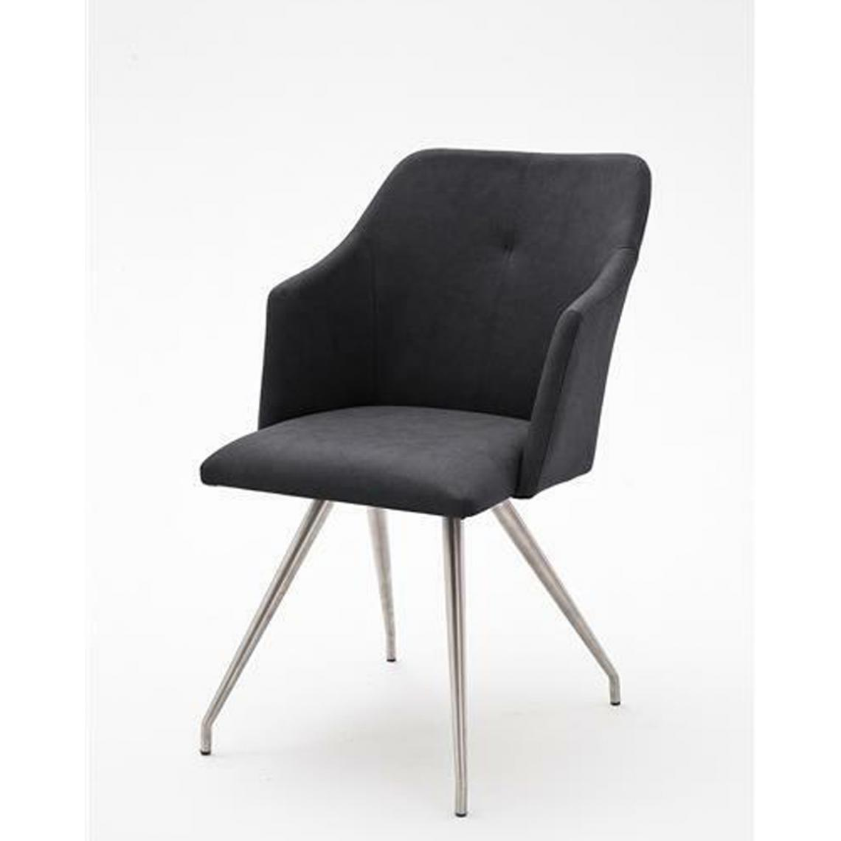 Pegane Lot de 2 chaises de salle à manger en acier et similicuir coloris anthracite - L.54 x H.88 x P.62 cm -PEGANE-