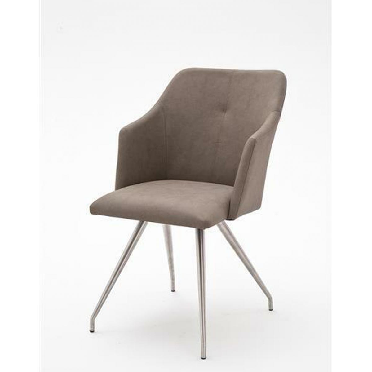 Pegane Lot de 2 chaises de salle à manger en acier et similicuir coloris taupe - L.54 x H.88 x P.62 cm -PEGANE-