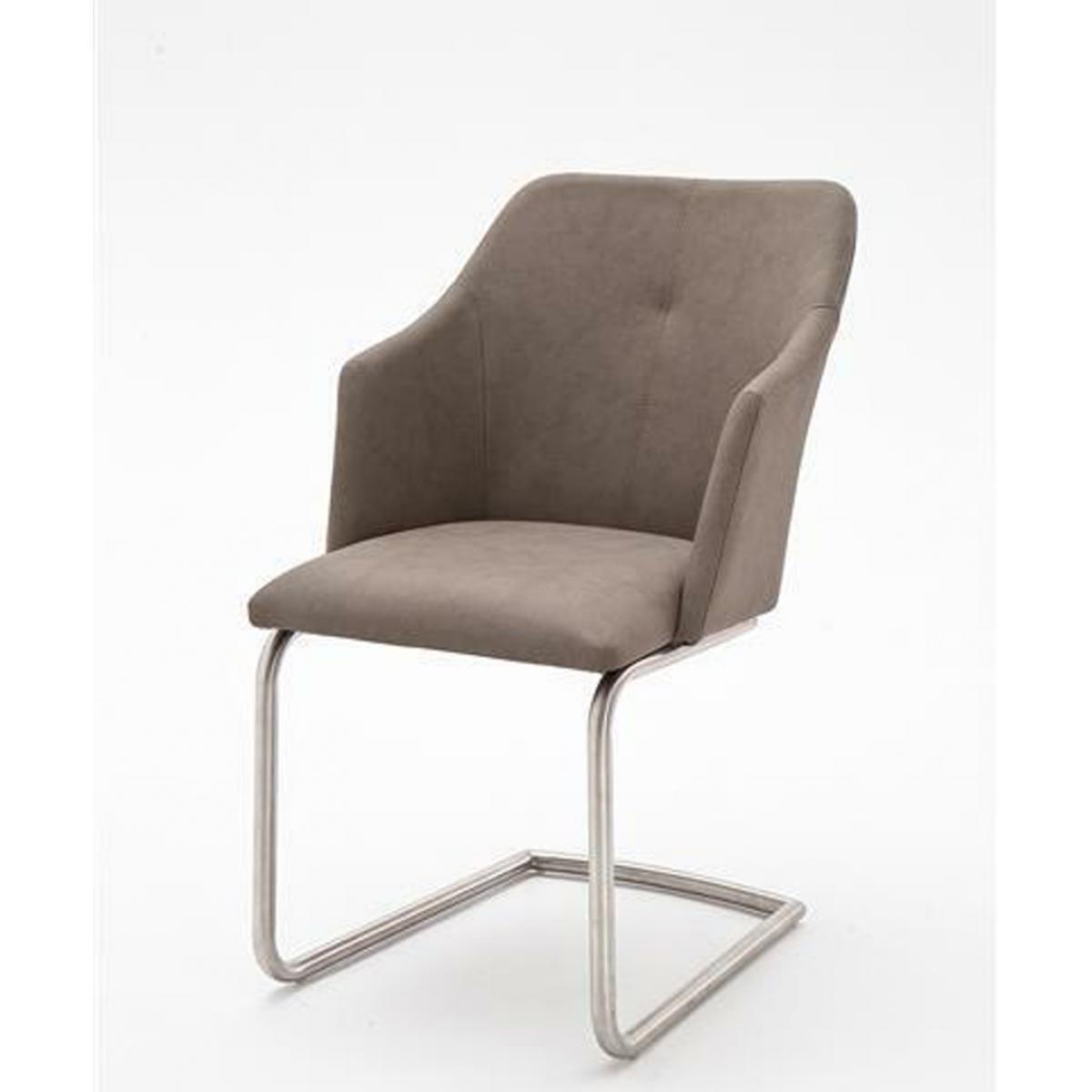 Pegane Lot de 2 chaises de salle à manger en acier et similicuir taupe - L.54 x H.88 x P.62 cm -PEGANE-