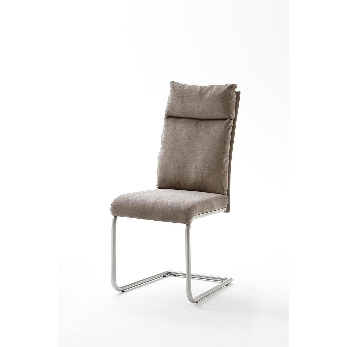 Pegane Lot de 2 chaises de salle à manger en acier et tissu aspect cuir vintage sable - L.45 x H.106 x P.62 cm -PEGANE-