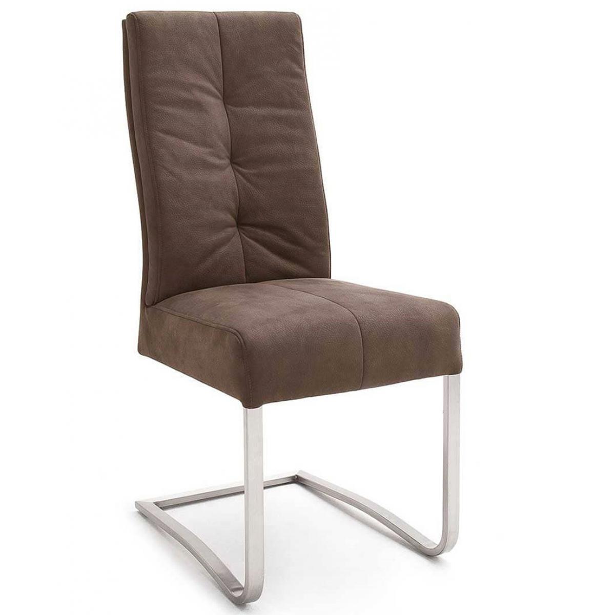 Pegane Lot de 2 chaises de salle à manger en acier et tissu coloris sable - L.45 x H.102 x P.63 cm -PEGANE-