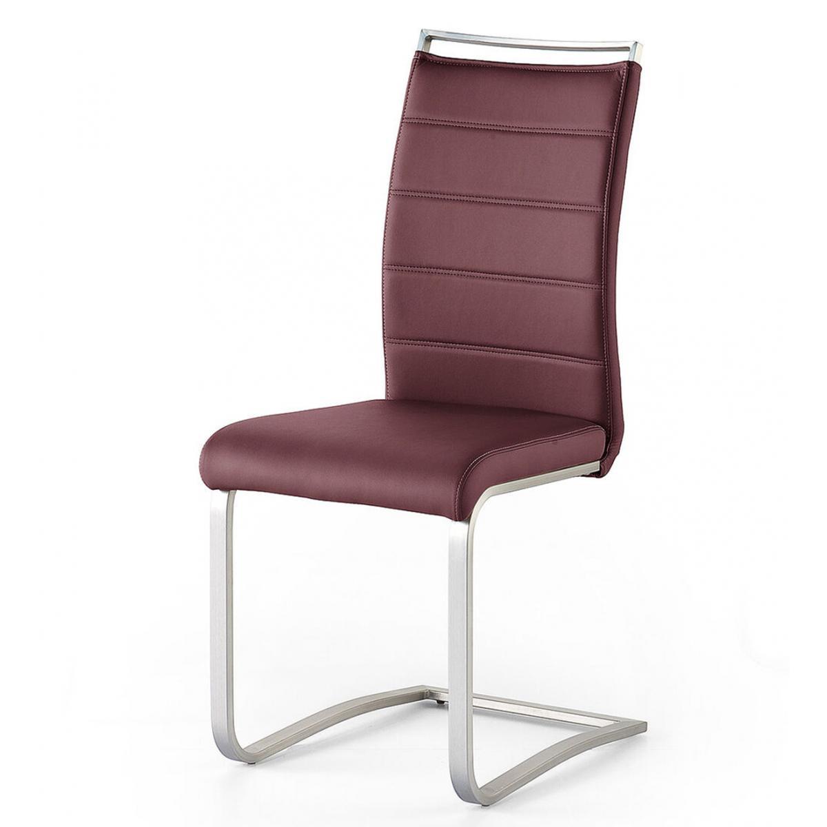 Pegane Lot de 2 chaises en acier et simili cuir coloris bordeaux - L.42 x H.102 x P.56 cm -PEGANE-