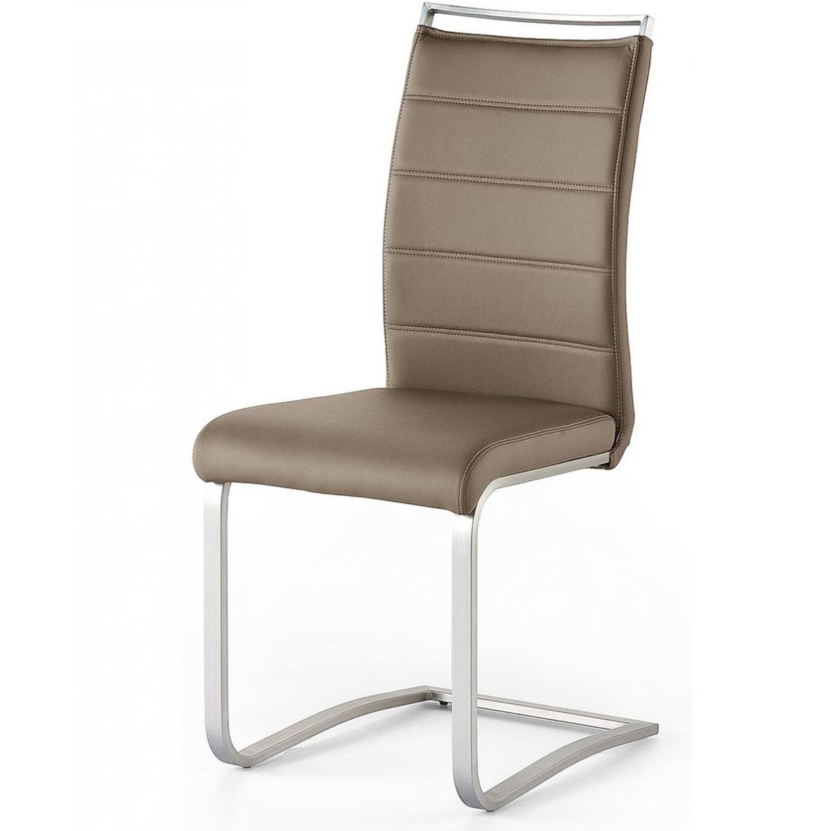 Pegane Lot de 2 chaises en acier et simili cuir coloris cappuccino - L.42 x H.102 x P.56 cm -PEGANE-