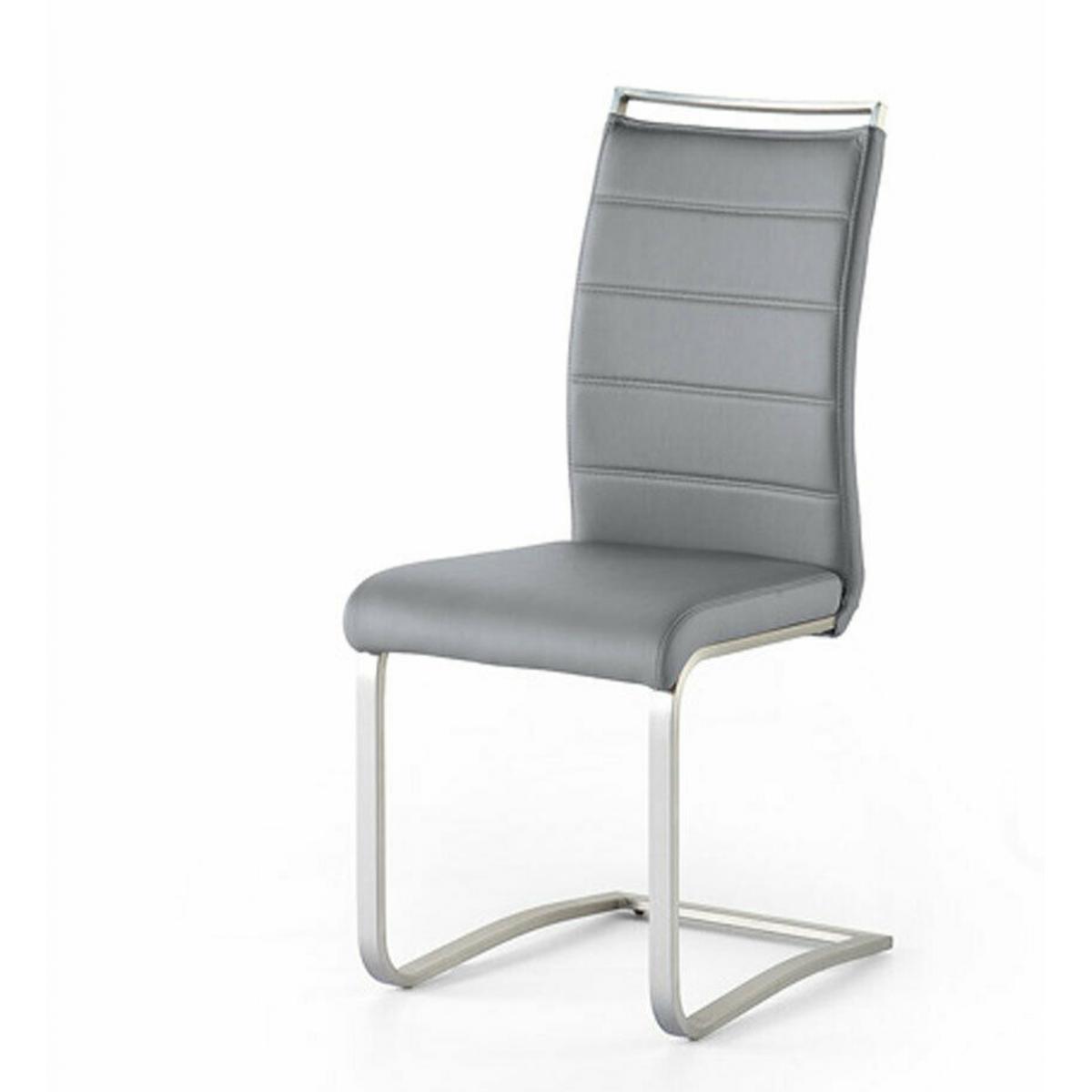 Pegane Lot de 2 chaises en acier et simili cuir coloris gris - L.42 x H.102 x P.56 cm -PEGANE-