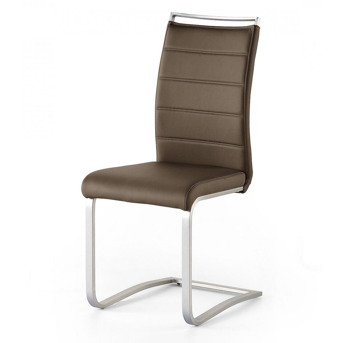 Pegane Lot de 2 chaises en acier et simili cuir coloris marron - L.42 x H.102 x P.56 cm -PEGANE-