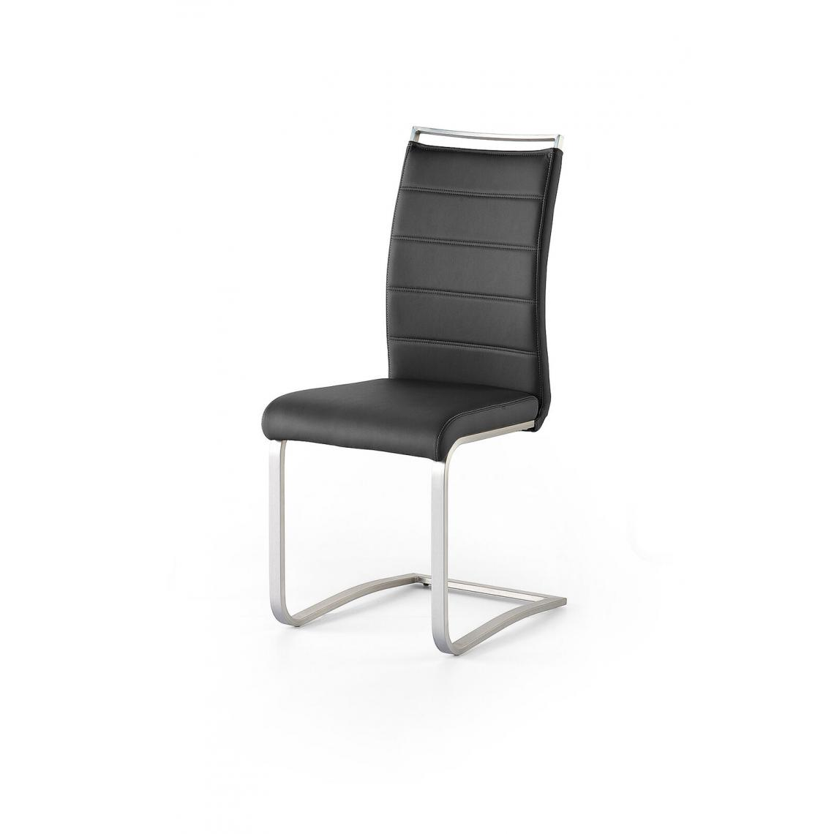 Pegane Lot de 2 chaises en acier et simili cuir coloris noir - L.42 x H.102 x P.56 cm -PEGANE-