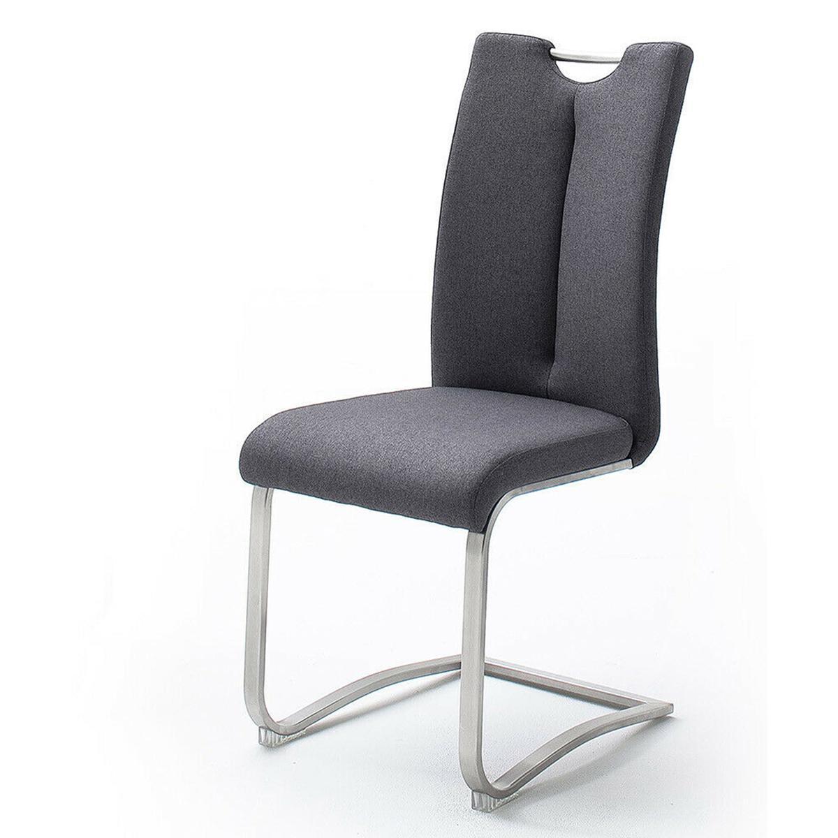Pegane Lot de 2 chaises en acier et tissu coloris anthracite - H.102 x L.45 x P.58 cm