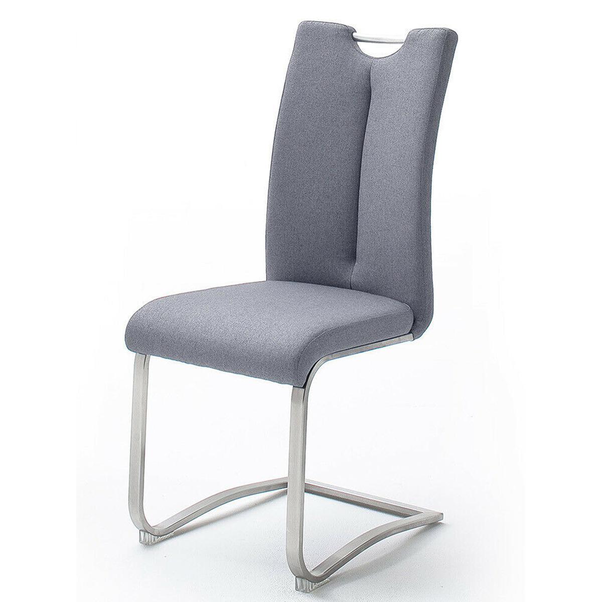 Pegane Lot de 2 chaises en acier et tissu coloris gris - H.102 x L.45 x P.58 cm