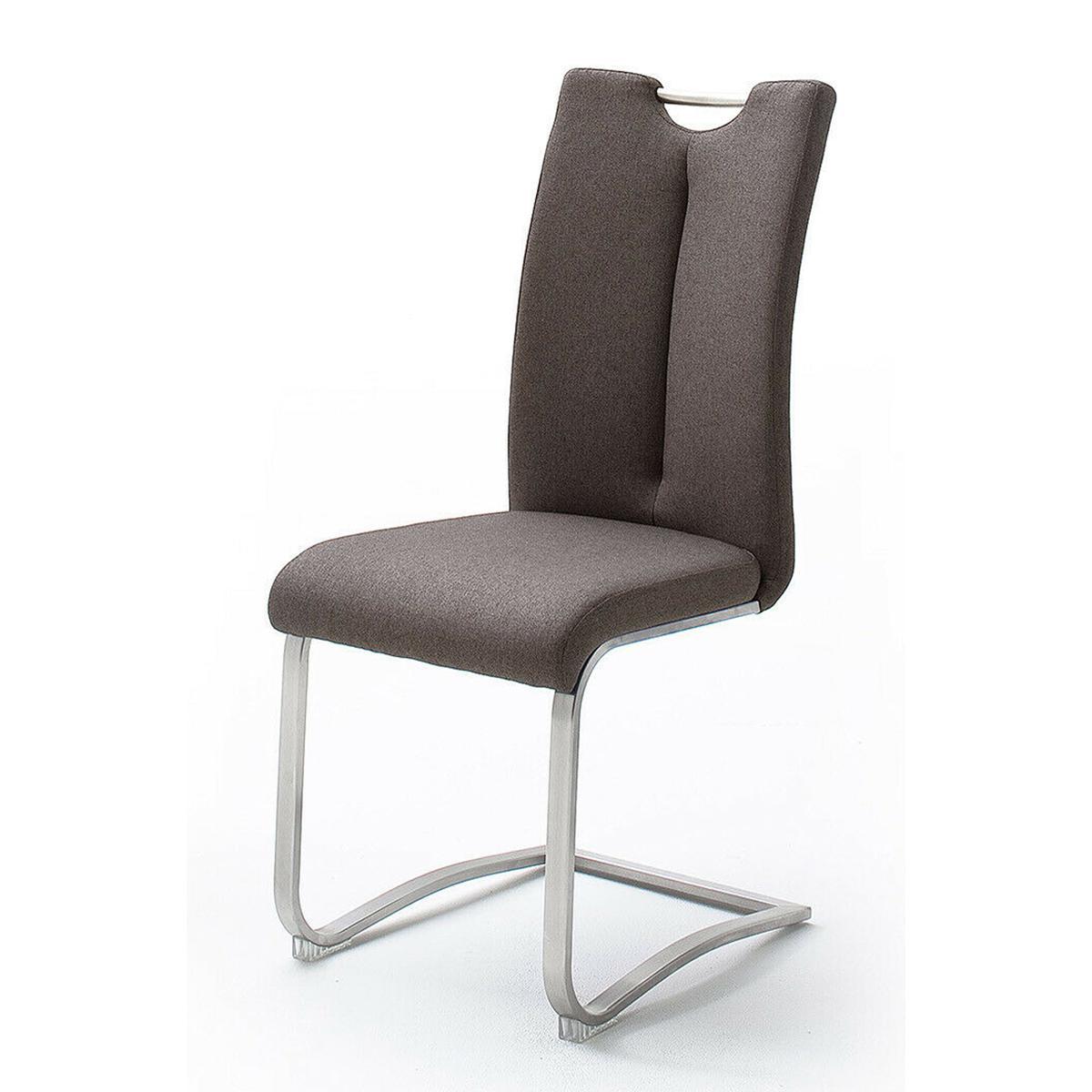 Pegane Lot de 2 chaises en acier et tissu coloris marron - H.102 x L.45 x P.58 cm
