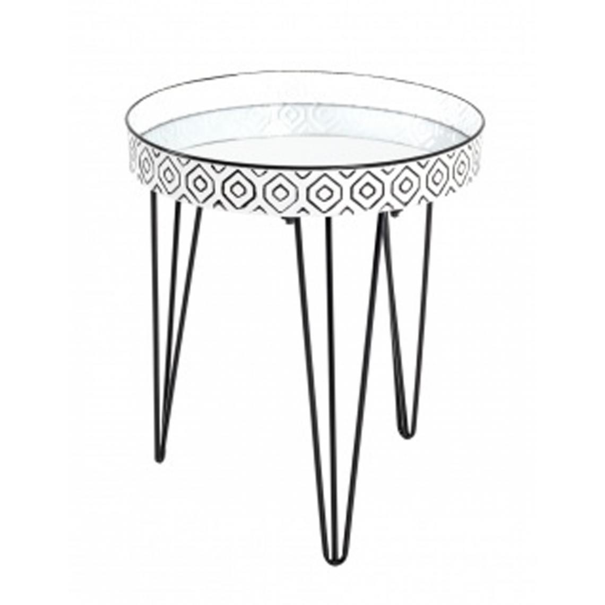 Pegane Table d'appoint coloris noir-blanc en métal - H 53 x Ø 45 cm