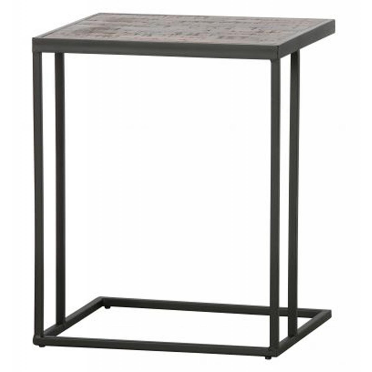 Pegane Table d'appoint en bois de teck et métal - H.55 x L.45 x P.35 cm -PEGANE-