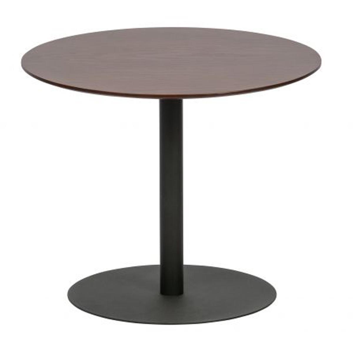 Pegane Table d'appoint en bois et métal coloris noyer - H.40 x L.48 x P.48 cm -PEGANE-