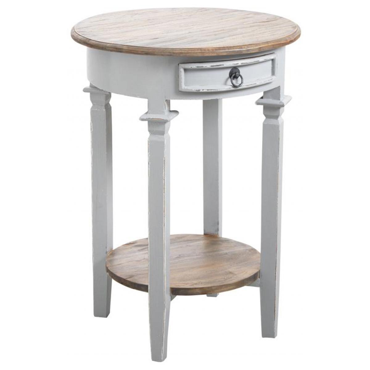 Pegane Table d'appoint ronde en bois gris antique - Ø 50 x H 70 cm