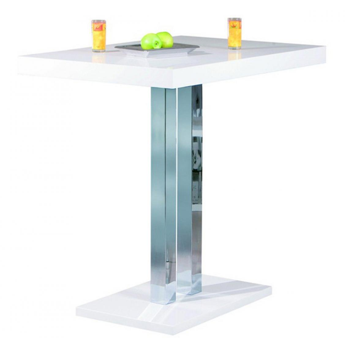 Pegane Table de bar laqué blanc et pieds métal chromé - L.120 x H.110 x P.80 cm -PEGANE-