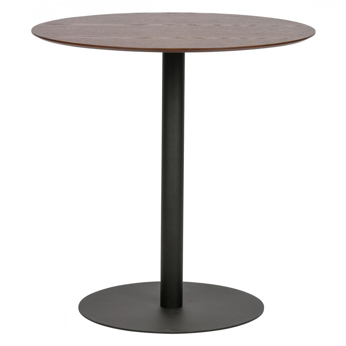 Pegane Table de restauration en bois et métal coloris noyer - H.75 x L.75 x P.75 cm -PEGANE-