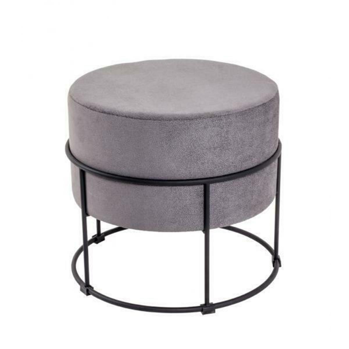 Pegane Tabouret coloris gris-noir en métal - H 44 x Ø 48 cm