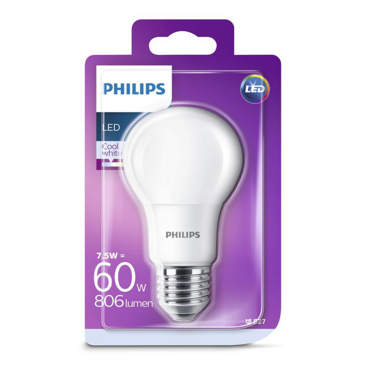 Philips Ampoule LED 7,5W équiv 60W 806 lm E27 Blanc froid