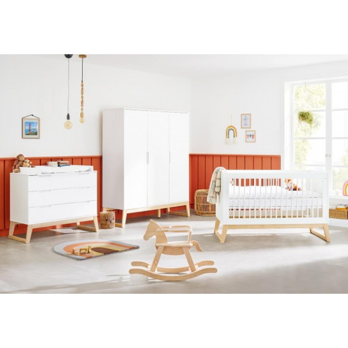 Pinolino Pinolino Chambre de bébé Bridge 3 pièces lit de bébé évolutif commode à langer armoire grande