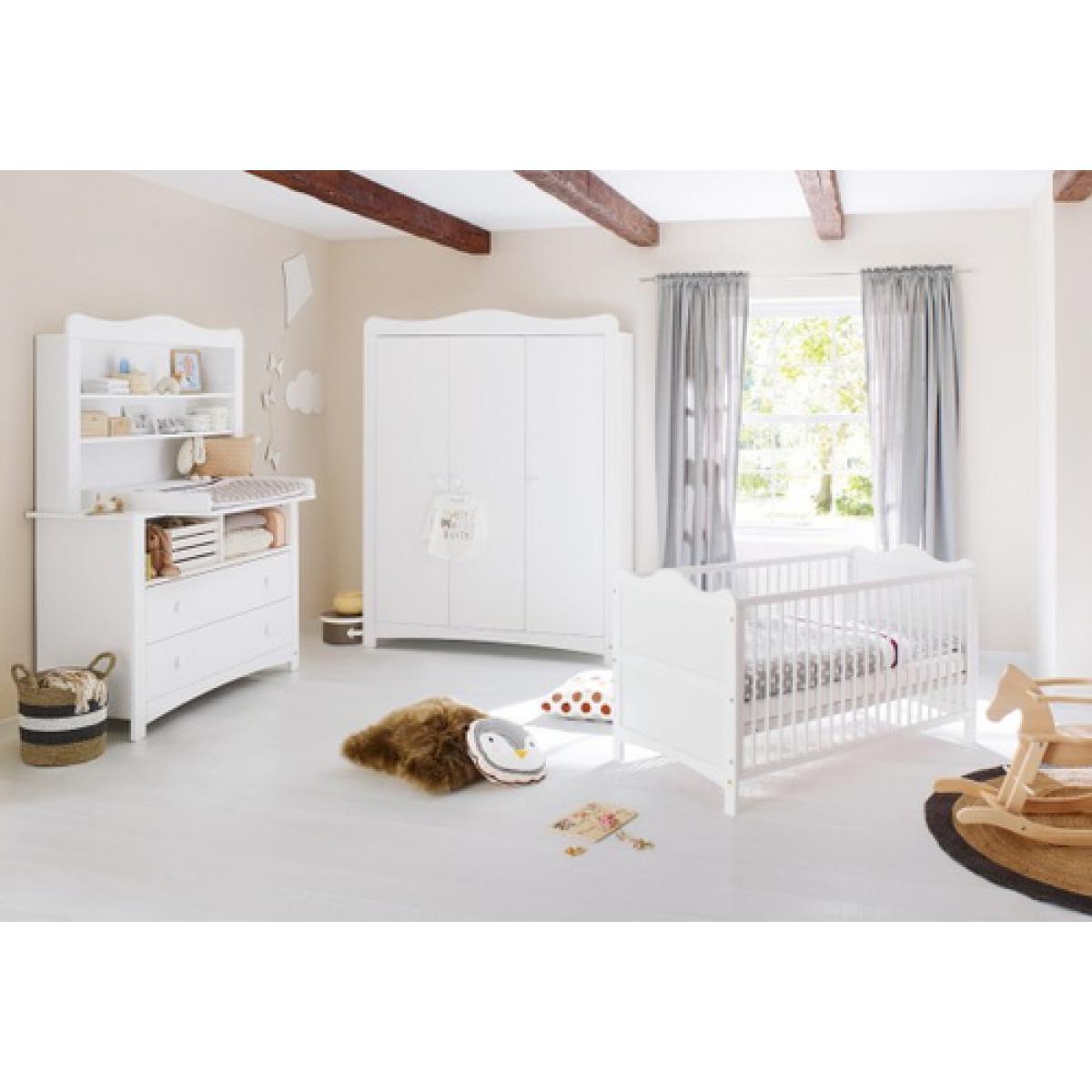Pinolino Pinolino Chambre de bébé Florentina 4 pièces lit de bébé évolutif commode à langer armoire
