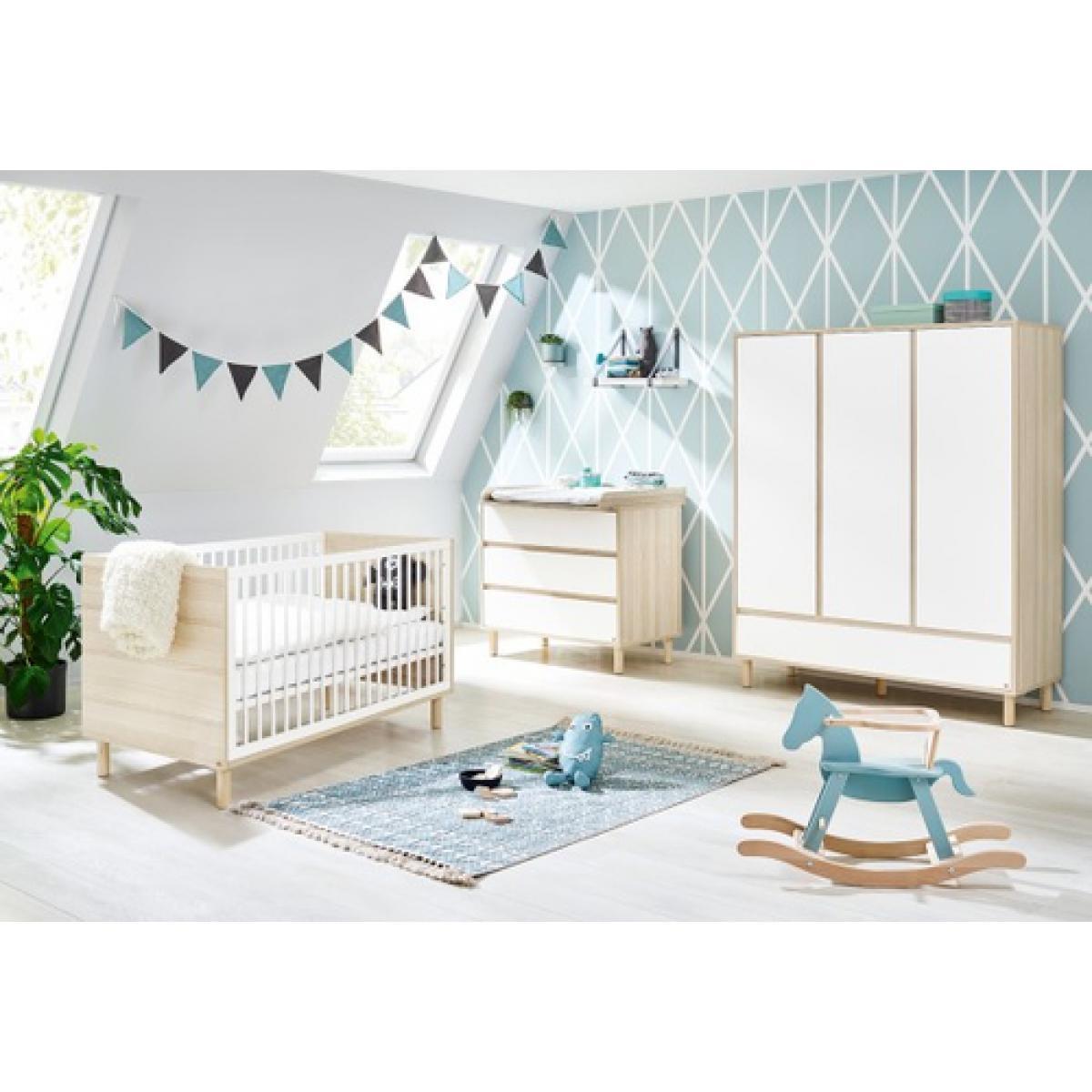 Pinolino Pinolino Chambre de bébé Flow 3 pièces lit de bébé évolutif commode à langer armoire