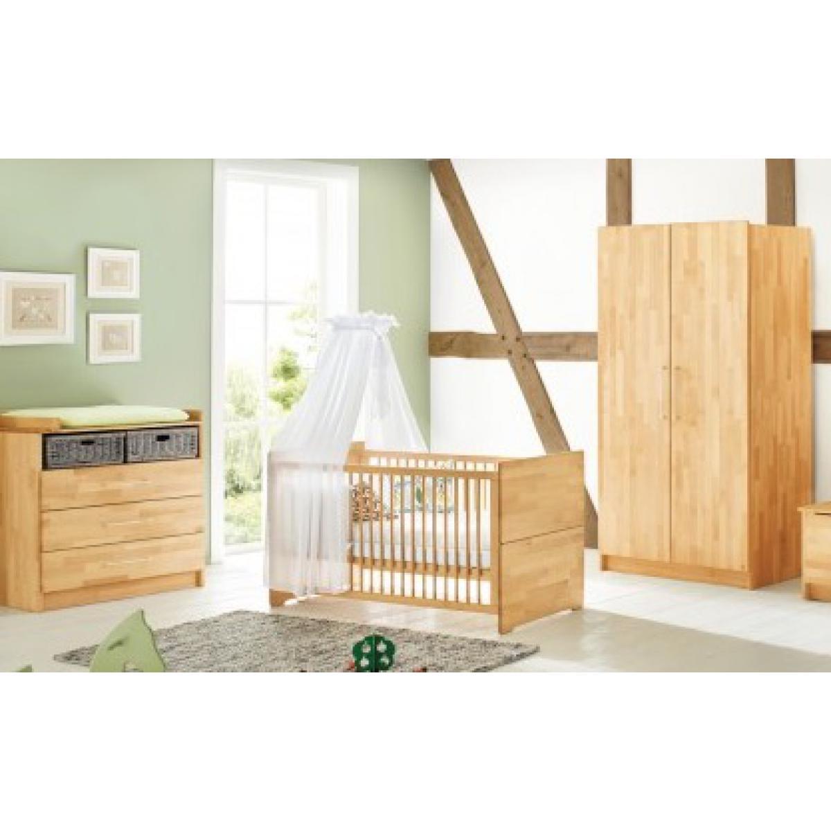 Pinolino Pinolino Chambre de bébé Natura 3 pièces lit de bébé évolutif commode à langer armoire à 2 portes