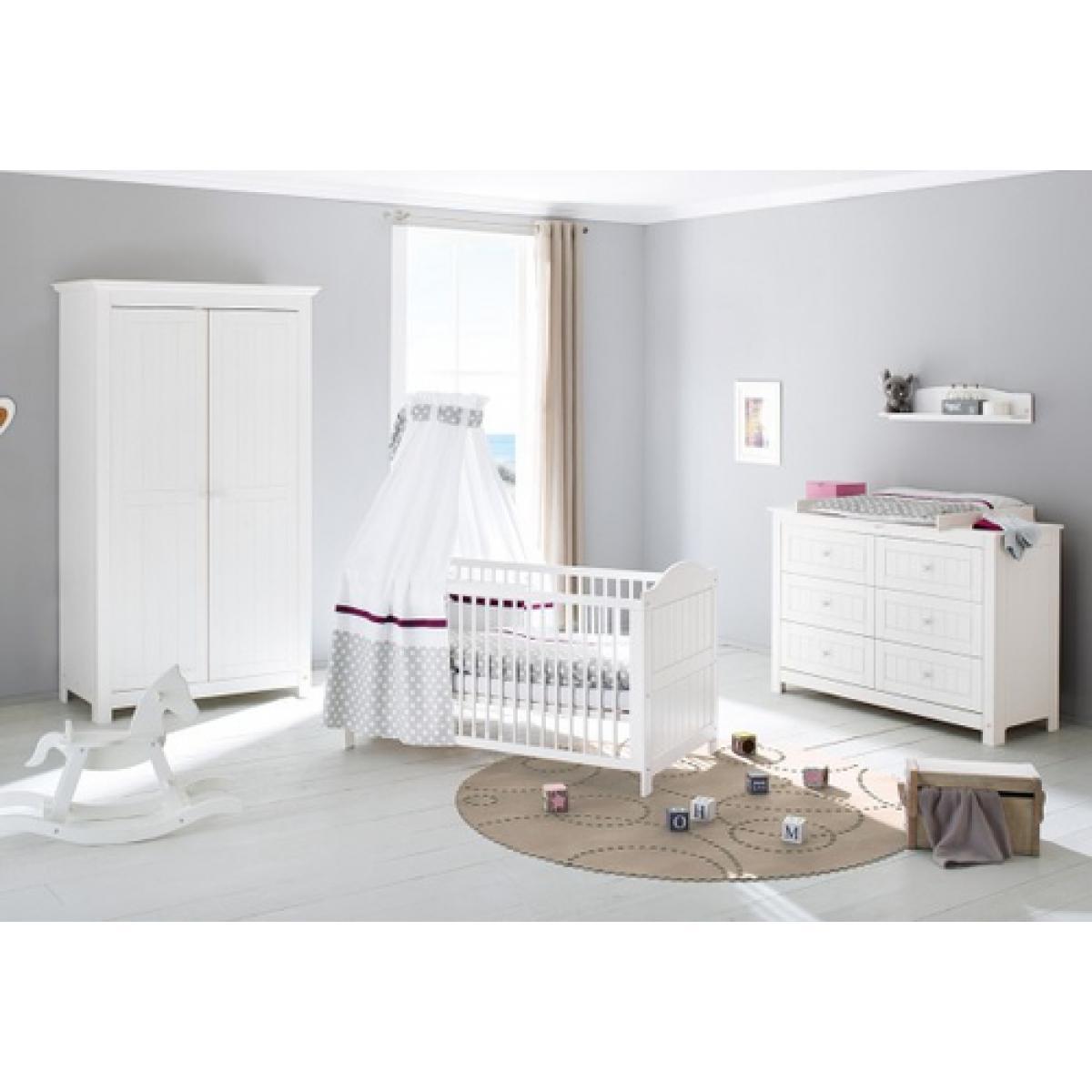 Pinolino Pinolino Chambre de bébé Nina 3 pièces lit de bébé évolutif commode à langer armoire à 2 portes