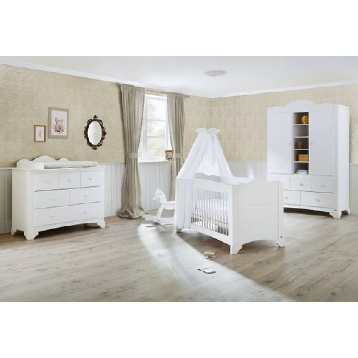 Pinolino Pinolino Chambre de bébé Pino 3 pièces lit de bébé évolutif commode à langer large armoire grande