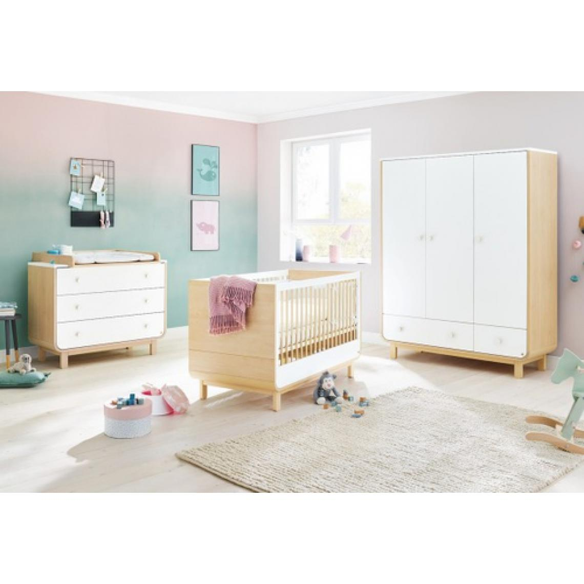 Pinolino Pinolino Chambre de bébé Round 3 pièces lit de bébé évolutif commode à langer armoire grande