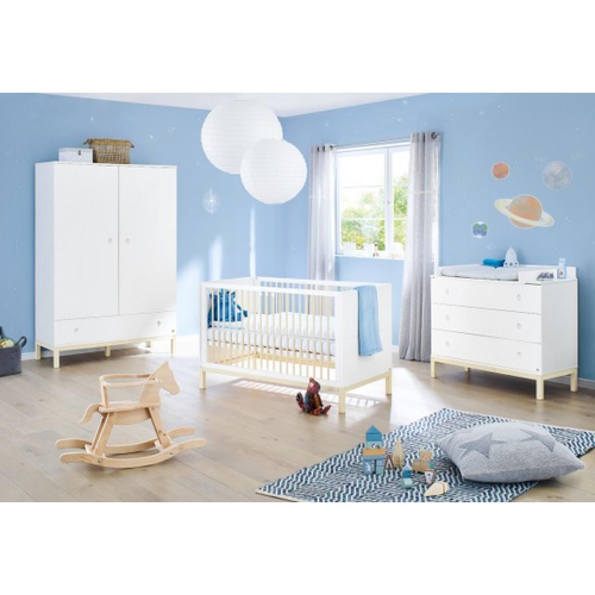 Pinolino Pinolino Chambre de bébé Skadi 3 pièces lit de bébé évolutif commode à langer armoire à 2 portes