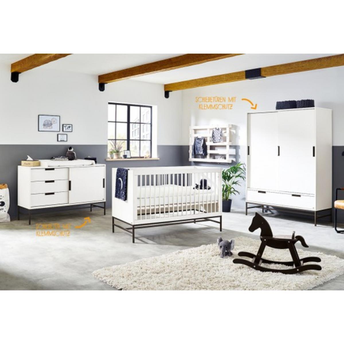 Pinolino Pinolino Chambre de bébé Steel grande 3 pièces lit de bébé évolutif commode à langer armoire grande