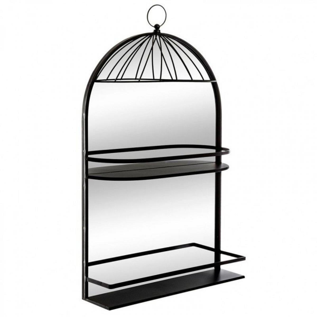 Pp No Name Miroir Design 2 Étagères Métal Cage 75cm Noir