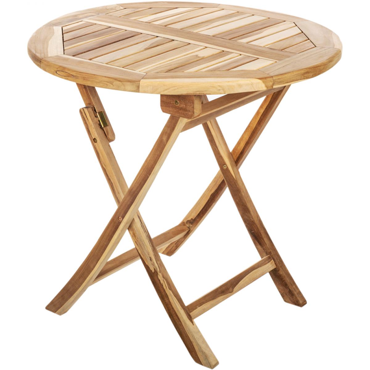 Primematik Table de jardin pliante ronde 80 cm en bois de teck certifié
