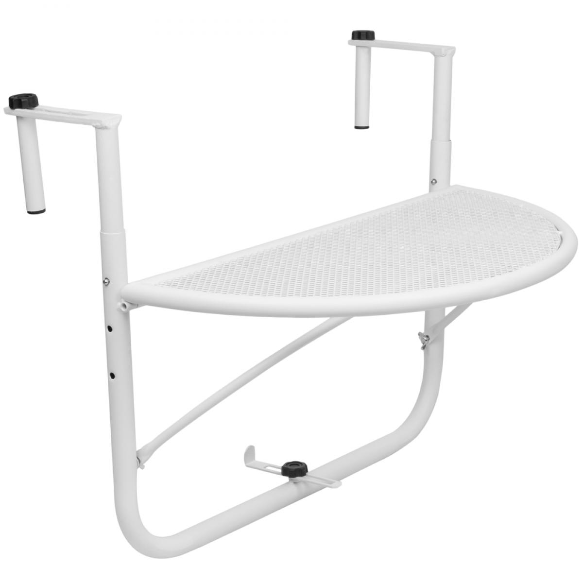 Primematik Table pliante semi-circulaire pour balcon 60x30cm blanc