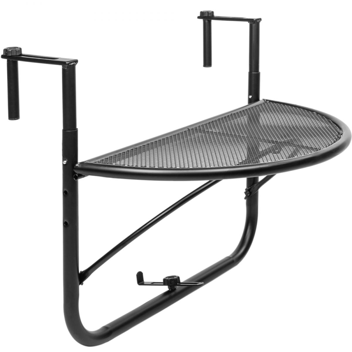 Primematik Table pliante semi-circulaire pour balcon 60x30cm noir