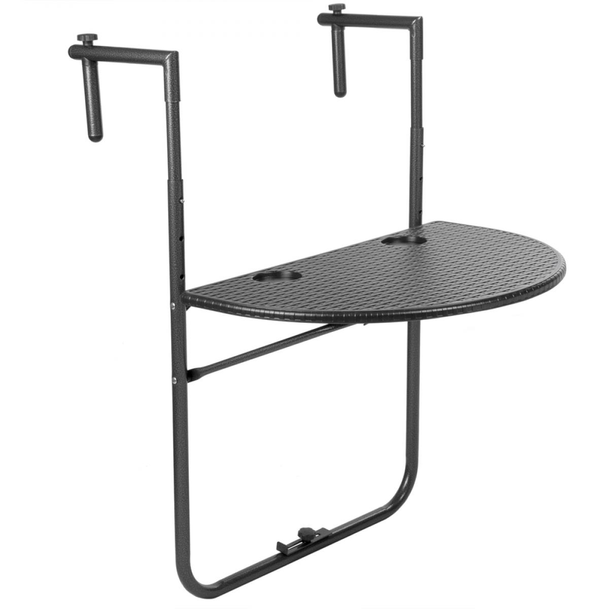 Primematik Table semi-circulaire réglable pour balcon 60x39cm noir