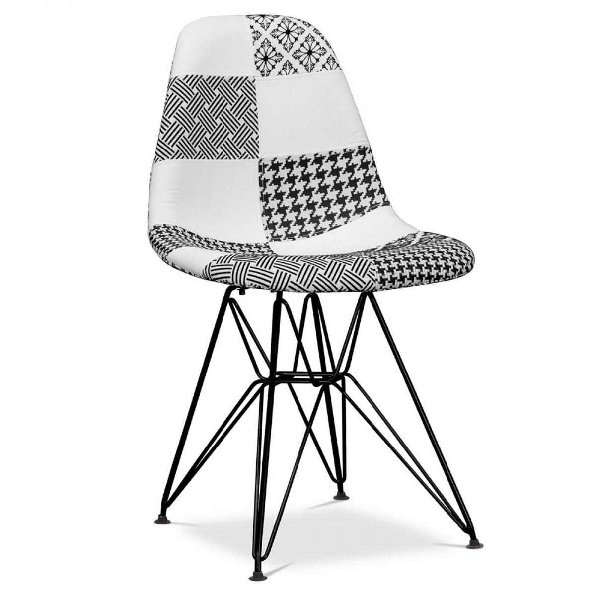 Privatefloor Chaise Derwick Noir et blanc - Patchwork Sam - Piètement noir