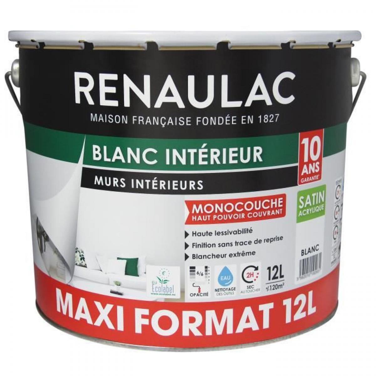 Renaulac Peinture murale monocouche 12 L SATIN blanc extreme - Lessivable - RENAULAC