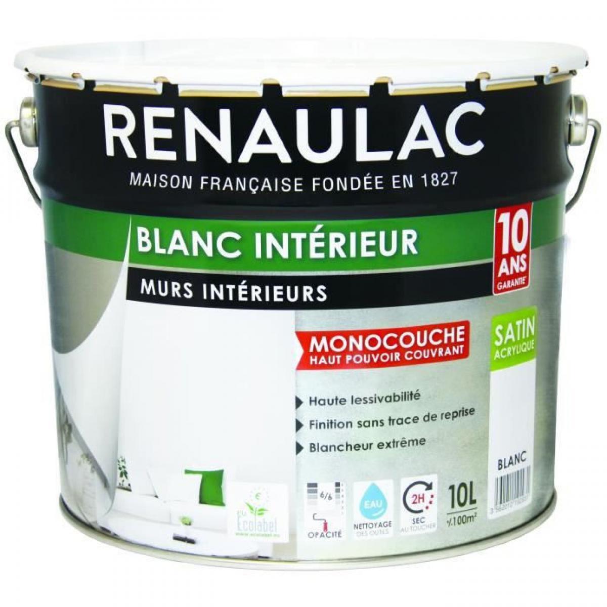 Renaulac Peinture murale monocouche acrylique 10 L satin blanc extreme - RENAULAC